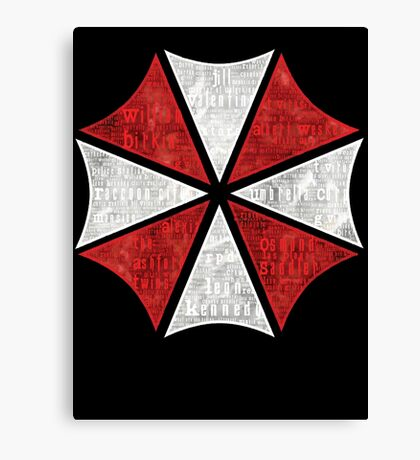 Resident Evil Umbrella Typography Canvas Print