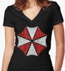 Resident Evil Umbrella Typography Women's Fitted V-Neck T-Shirt