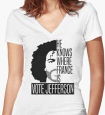 Vote For Jefferson Women's Fitted V-Neck T-Shirt