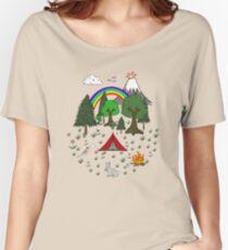 Cartoon Camping Scene Women's Relaxed Fit T-Shirt