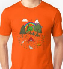 Cartoon Camping Scene Unisex T-Shirt