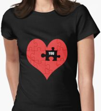 Heart Puzzle (black) Women's Fitted T-Shirt