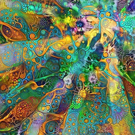 Deepdream floral fractalize space abstraction