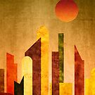 Autumn City Sunset Geometric Flat Urban Landscape by Beverly Claire Kaiya