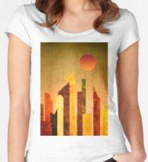 Autumn City Sunset Geometric Flat Urban Landscape Women's Fitted Scoop T-Shirt