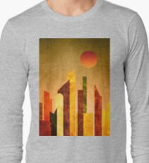 Autumn City Sunset Geometric Flat Urban Landscape T-Shirt