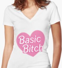 Basic Bitch Blue Women's Fitted V-Neck T-Shirt