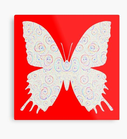#DeepDream White Butterfly Metal Print