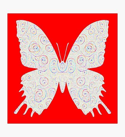 #DeepDream White Butterfly Photographic Print