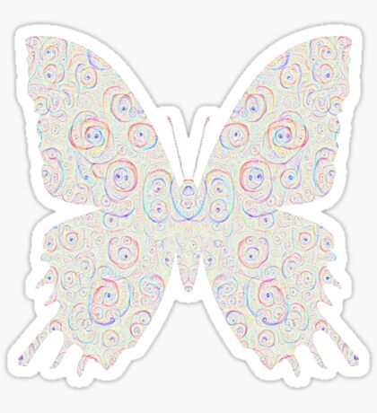 #DeepDream White Butterfly Sticker