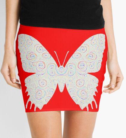 #DeepDream White Butterfly Mini Skirt