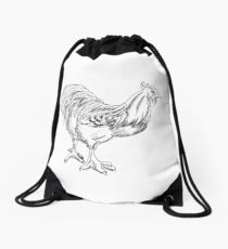 Rooster Pen and Ink Drawstring Bag