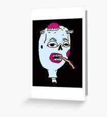 Zombie Head Eating Bacon Strip  Greeting Card