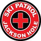 JACKSON HOLE WYOMING Skiing Ski Patrol Round Mountain Art by MyHandmadeSigns