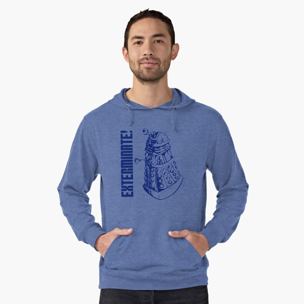 EXTERMINATE! (With Caption) Lightweight Hoodie Front