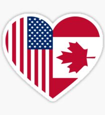 USA Canada Flag Friends Love Heart Sticker