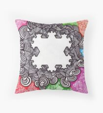 Fractal abstract art drawing crazy mind Throw Pillow
