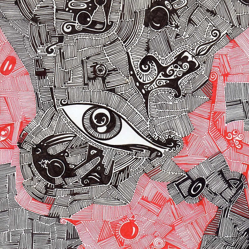 Eye Bomb Candle Abstract Art Drawing Crazy Mind Art Print