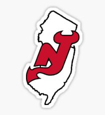 New Jersey State Outline With Devils Logo Sticker