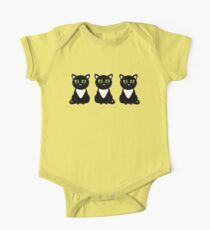 White Bibbed Black Cats One Piece - Short Sleeve