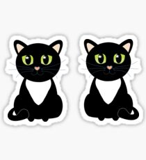 Two Black and White Cats Sticker