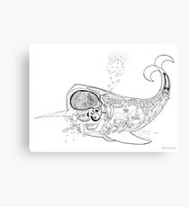Space Whale Metal Print