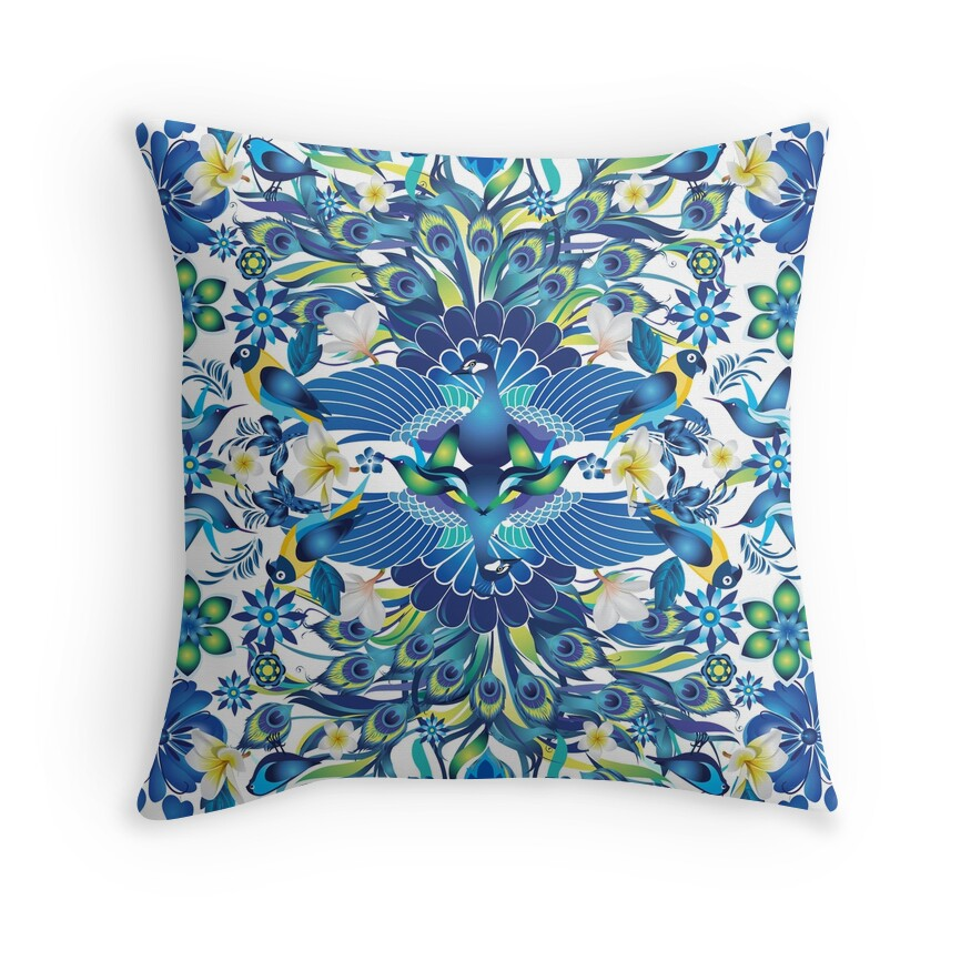 Peacock Blue Throw Pillows :