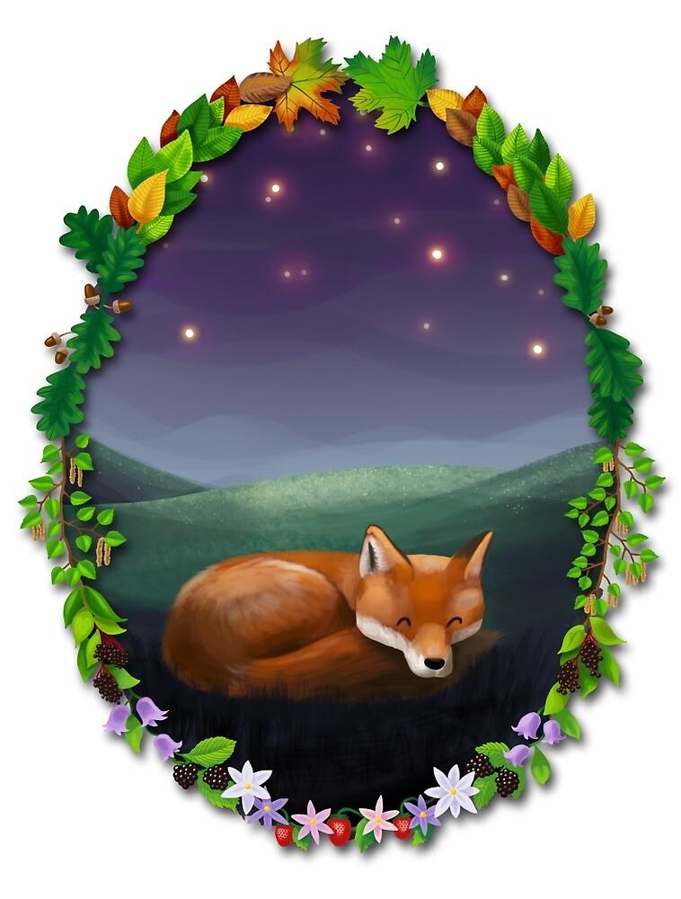 Sleeping fox under stars von skrich