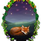 Sleeping fox under stars von skrich