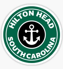 Hilton Head South Carolina Round Coffee Style Art Sticker
