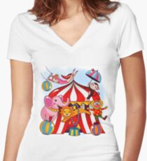 Big Top Circus With Animals Women's Fitted V-Neck T-Shirt