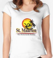 St. Maarten, The Netherlands Antilles Fitted Scoop T-Shirt
