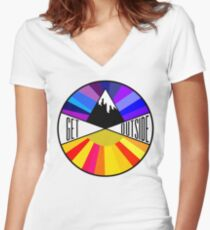 Get Outside | Mountain & Sun Women's Fitted V-Neck T-Shirt