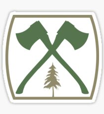 Axe Crossing Badge w/ Tree | Lumberjack Logo Sticker
