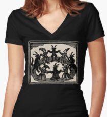 Camiseta entallada de cuello en V Brujas danza en círculo