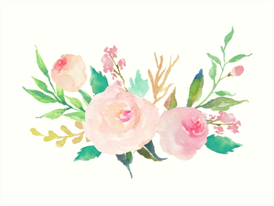 Pastel Watercolor Flower Bouquet By Junkydotcom