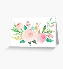 Pastel Watercolor Flower Bouquet Greeting Card