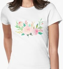 Pastel Watercolor Flower Bouquet Womens Fitted T-Shirt
