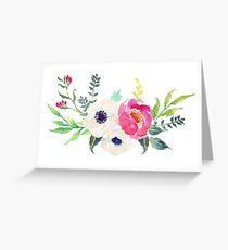 Anemone Peony Watercolor Bouquet Greeting Card