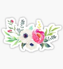 Anemone Peony Watercolor Bouquet Sticker