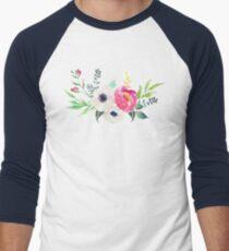 Anemone Peony Watercolor Bouquet Men's Baseball ¾ T-Shirt