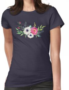 Anemone Peony Watercolor Bouquet Womens Fitted T-Shirt