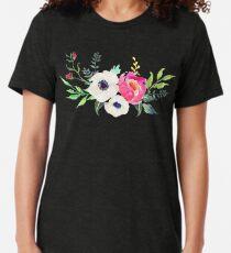 Camiseta de tejido mixto Anemone Peony Watercolor Bouquet