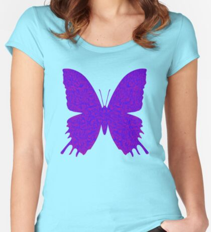 #DeepDream Purple Violet Butterfly Fitted Scoop T-Shirt