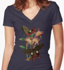 FF - Butterfly-6 Women's Fitted V-Neck T-Shirt