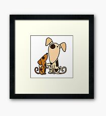 Cool Cute Mother and Baby Puppy Dog Love Framed Print