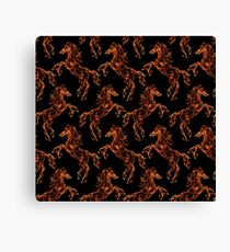 Flaming horse. Fire texture pattern. Dream style Canvas Print