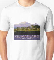 Mount Kilimanjaro Souvenir Design, in Vintage Travel Poster Style Unisex T-Shirt