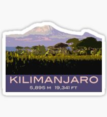 Mount Kilimanjaro Souvenir Design, in Vintage Travel Poster Style Sticker