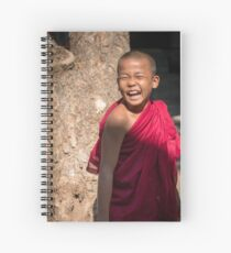 Laughing young monk in Myanmar Spiral Notebook